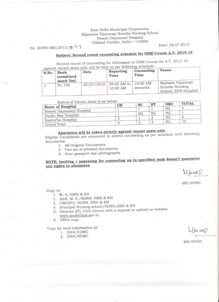 Second round counselling schedule for GNM course A.Y. 2015-16