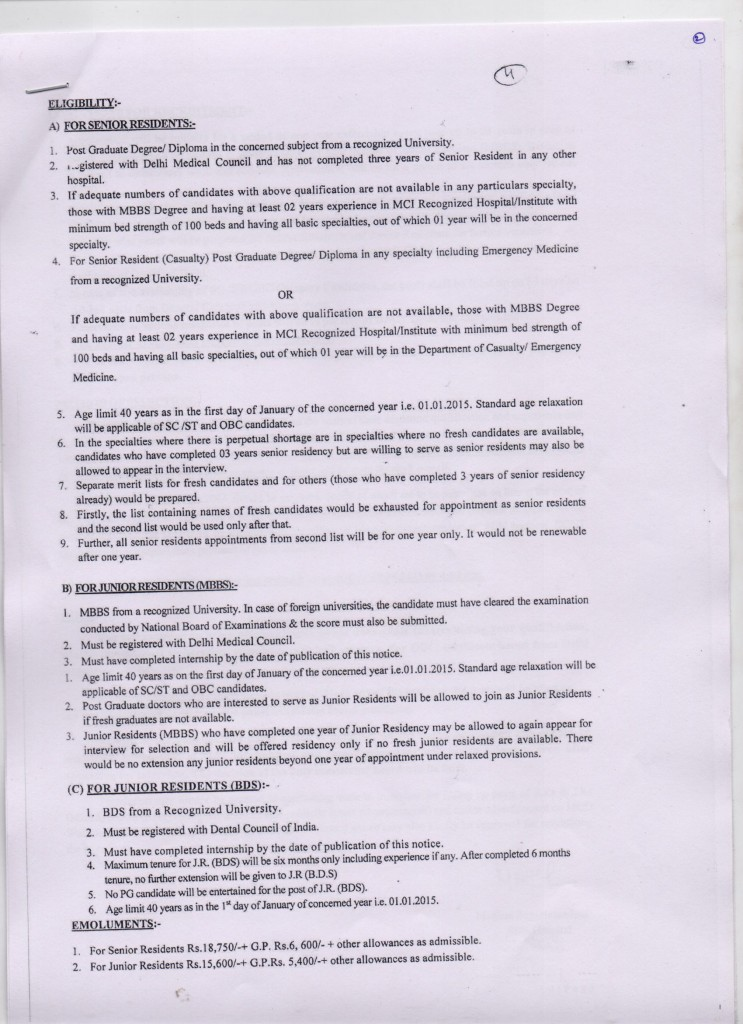 vacancy for the post of Senior / Junior Residents