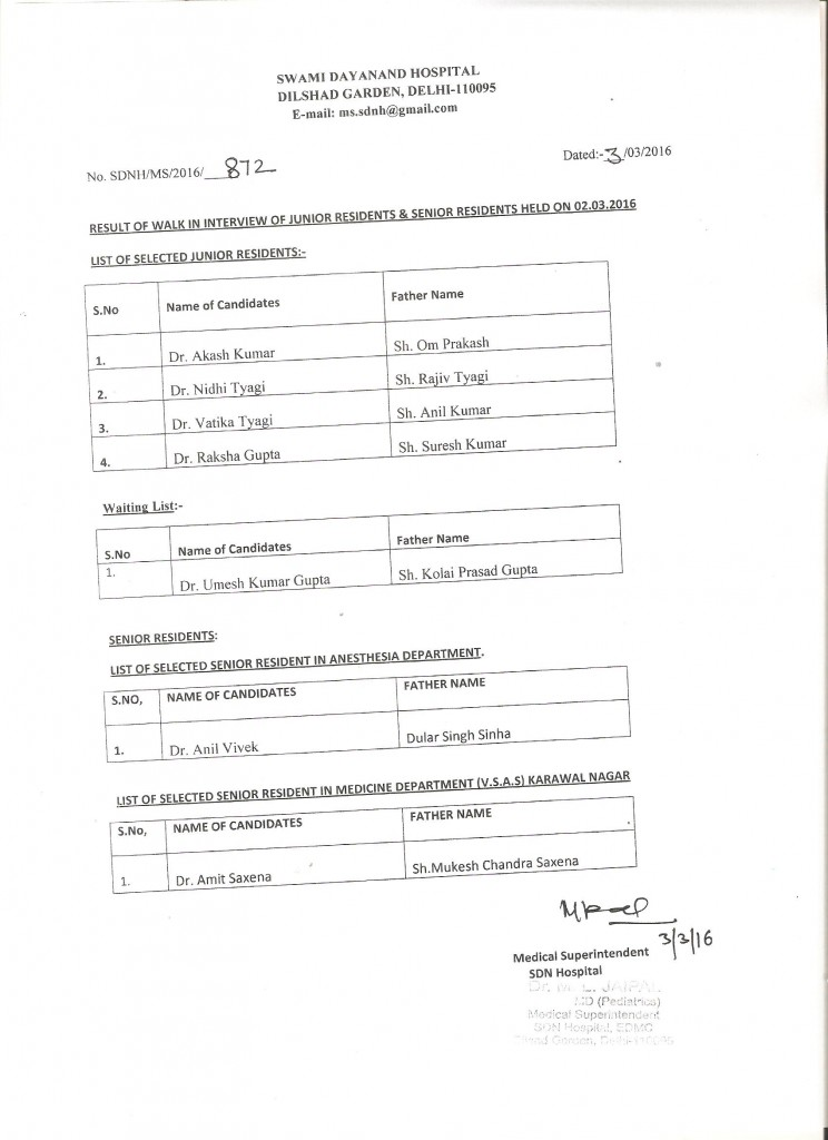 Result of walk in Interview of SR & JR held on 02.03.2016