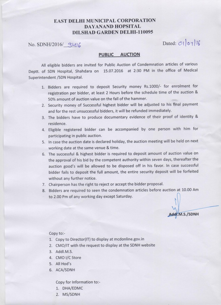 Public Auction of Condemnation of Articles in SDN Hospital
