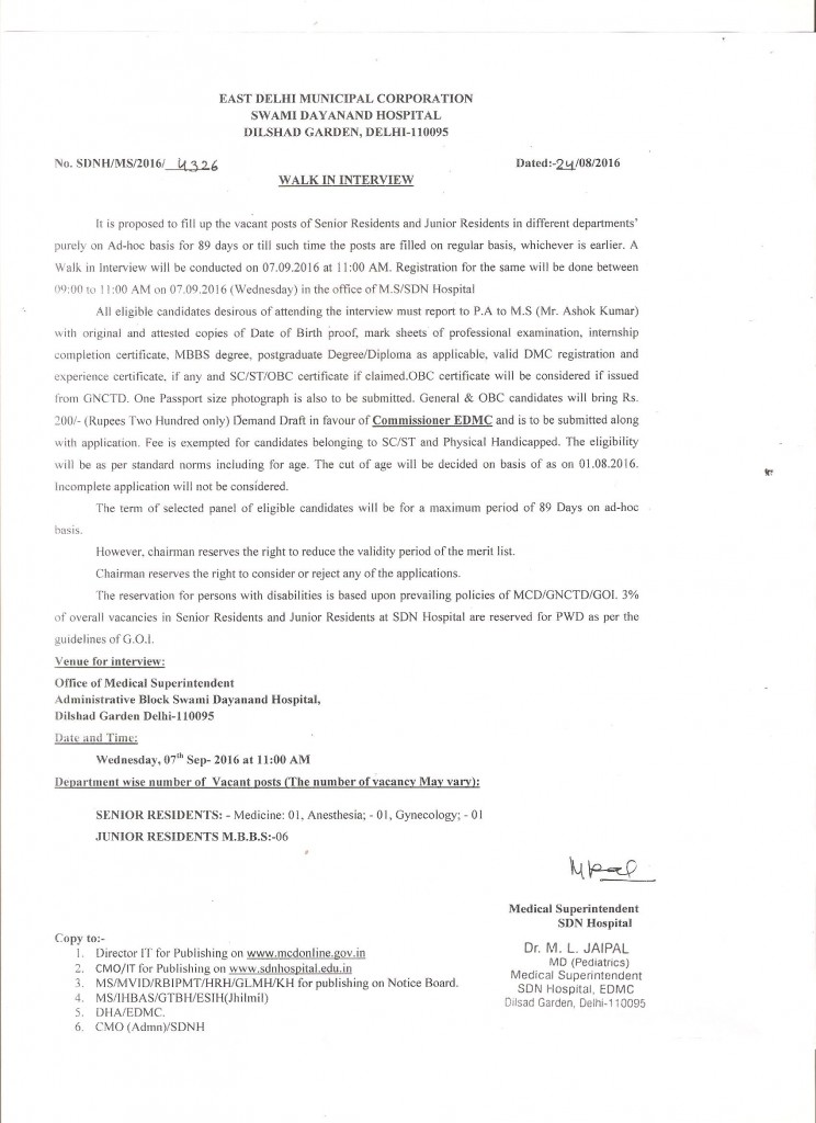 Walk-in-Interview of SR & JR on Adhoc basis for 89 days