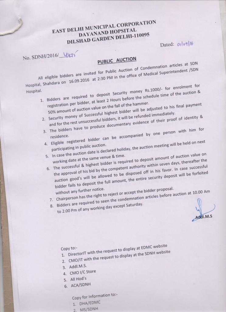 Public Auction of Condemnation Articles