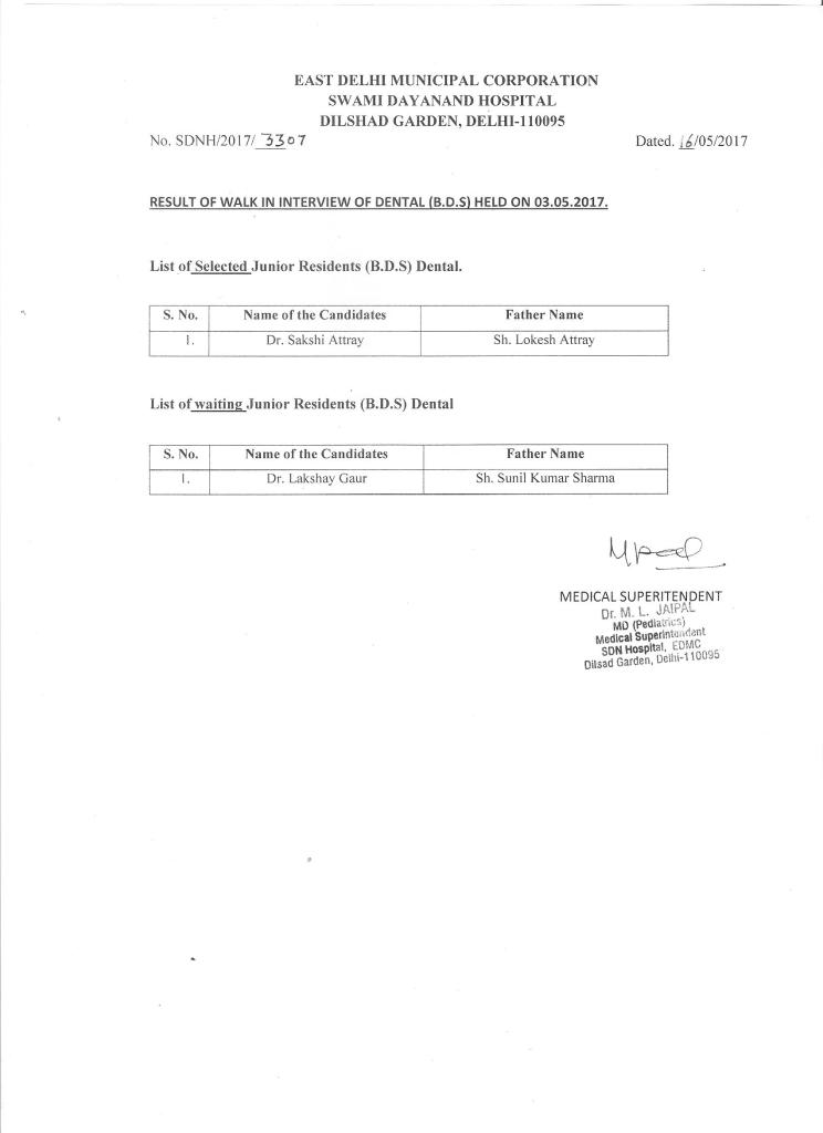 Result of Walk in Interview of DENTAL (B.D.S)