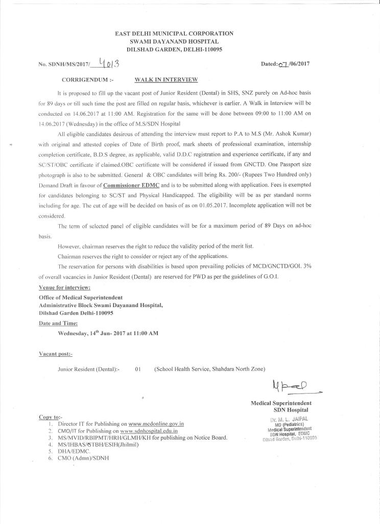 Walk-in interview for JR(Dental) on Ad-hoc basis for 89 days