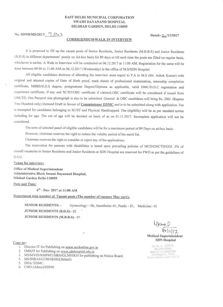 Walk-in interview for SR & JR on Ad-hoc basis for 89 days