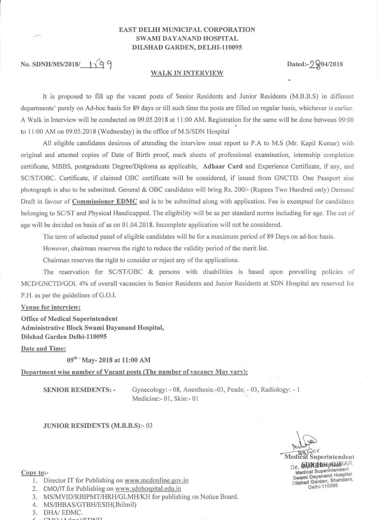 Walk-in interview for SR & JR (MBBS) on Ad-hoc basis for 89 days