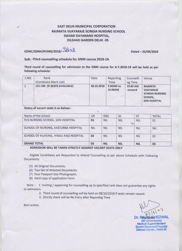 Third Counselling Schedule for GNM Course 2018-19